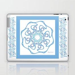 Hope Mandala with Border - Blue White Laptop & iPad Skin