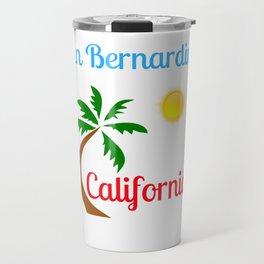 San Bernardino California Palm Tree and Sun Travel Mug