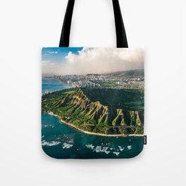 Diamond Head Aerial Panoramic Tote Bag