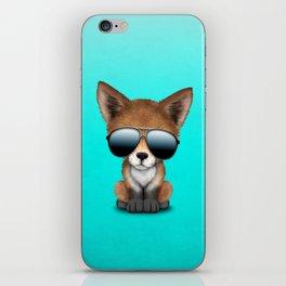 Cute Baby Red Fox Wearing Sunglasses iPhone Skin