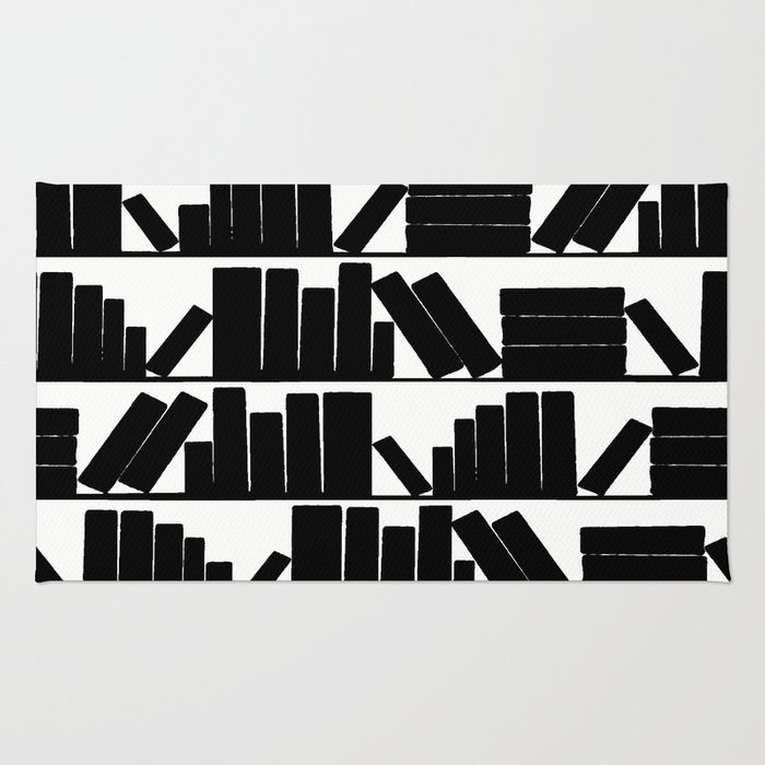 Library Book Shelves, black and white Rug