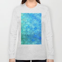 Summer Dream Colorful Trendy Mermaid Scales Long Sleeve T-shirt