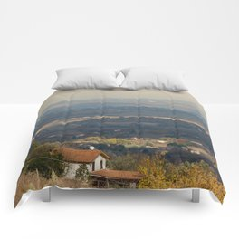 Sunset Italian countryside landscape view Comforters