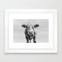 Animal Photography | Cow Portrait Minimalism | Farm animals | black and white Framed Art Print