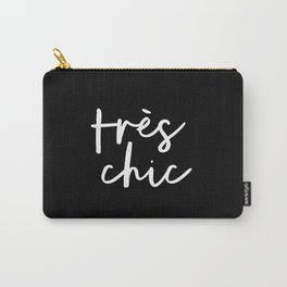 Tres Chic black and white modern french typography quote poster canvas wall art home decor Carry-All Pouch