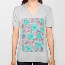 Watercolor turquoise pink hand painted floral Unisex V-Neck