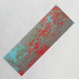 texture - aqua and red paint Yoga Mat