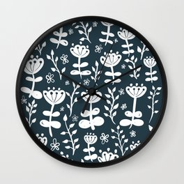 Navy Blooms Wall Clock