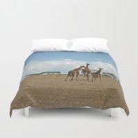 giraffes Duvet Covers featuring Giraffes by wendygray