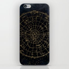Golden Star Map iPhone Skin
