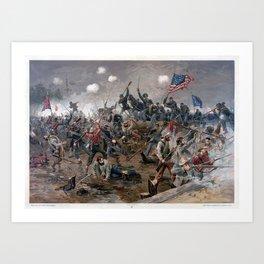 Vintage Lithograph Of The Battle Spotsylvania Art Print