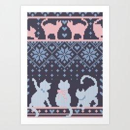Fair Isle Knitting Cats Love // purple white and pink kitties Art Print