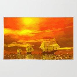 Segelschiffe im Sonnenschein Rug