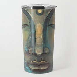 Rusty Golden Copper Buddha Face Watercolor Painting Travel Mug