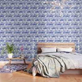 Blue Chinoiserie Toile Wallpaper