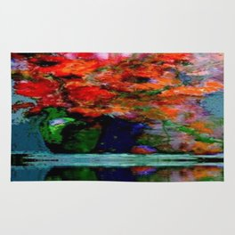 SURREAL RED POPPIES GREEN VASE REFLECTIONS Rug