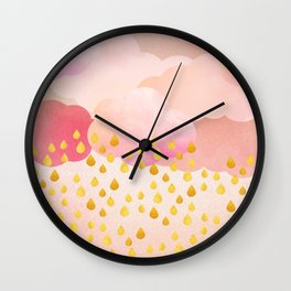 Rose gold rainshowers Wall Clock