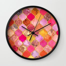 Hot Pink, Gold, Tangerine & Taupe Decorative Moroccan Tile Pattern Wall Clock