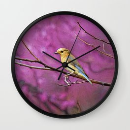 Bluebird and Redbuds Wall Clock
