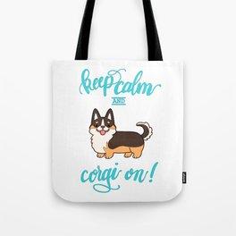 Keep calm and corgi on - tricolor Tote Bag