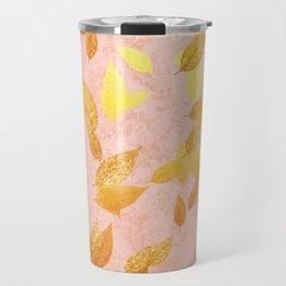 Autumn-world 2 - gold glitter leaves on pink background Travel Mug