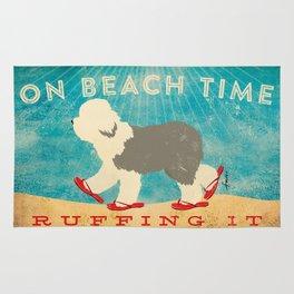 Beach Time Sheepdog by Stephen Fowler Rug