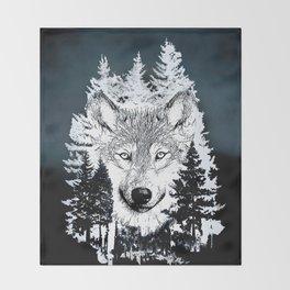 Forest Wolf Art Throw Blanket