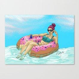 Donut Floatie - Color Canvas Print