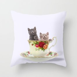 Tea Cup Kitties Throw Pillow