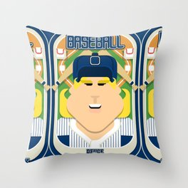 Baseball Blue Pinstripes - Deuce Crackerjack - Hazel version Throw Pillow