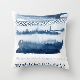 Beach Series Indigo Waves Watercolor Painting Throw Pillow