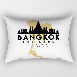BANGKOK THAILAND SILHOUETTE SKYLINE MAP ART Rectangular Pillow
