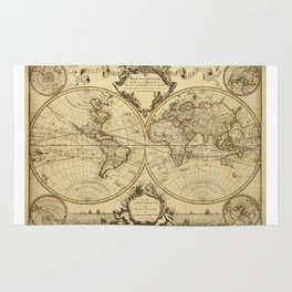 1720 Old World Map Historic Map Antique Style World Map Guillaume de L'Isle mappe monde Wall Map Rug
