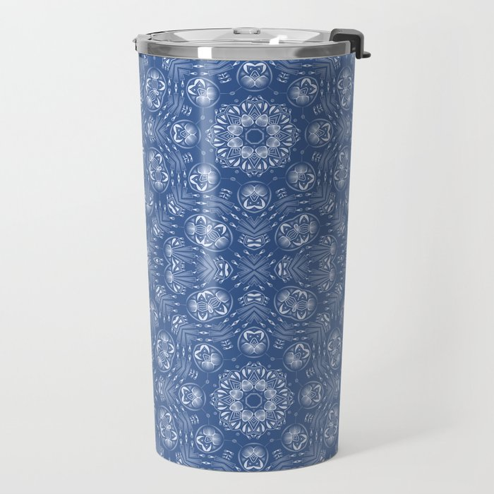 Light blue ornament . Travel Mug