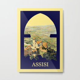 Vintage Litho Travel ad Assisi Italy Metal Print