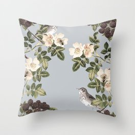 Birds and the Bees Gray Throw Pillow