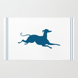Italian Greyhound Silhouette in Blue and White Rug