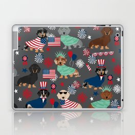 Dachshund july 4th patriotic dog breed pattern doxie dachsie lovers america Laptop & iPad Skin