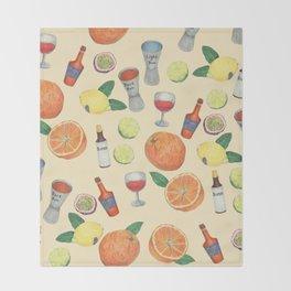 cocktail recipe pattern _ zombie Throw Blanket