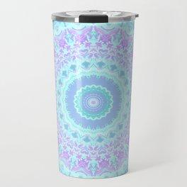Cyan, Turquoise, and Purple Kaleidoscope Travel Mug