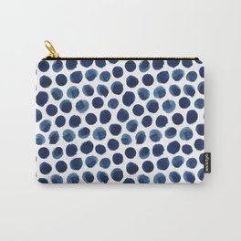 Large Indigo/Blue Watercolor Polka Dot Pattern Carry-All Pouch