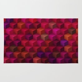 Crimson Magic Cube Art Pattern Rug