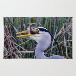 Grey Heron with fish Rug