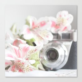 Pink flower and bokeh camera in the morning (Still Life Photography)  Canvas Print
