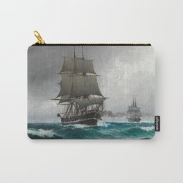 Vintage Sailing in Rough Waters Painting (1876) Carry-All Pouch
