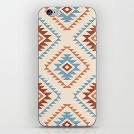 Aztec Style Motif Pattern Blue Cream Terracottas iPhone Skin