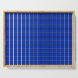 Egyptian blue - blue color - White Lines Grid Pattern Serving Tray