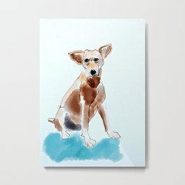 A Mutt in Blue Dog Portrait Metal Print
