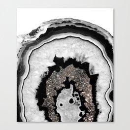 Gray Black White Agate with Silver Glitter #1 #gem #decor #art #society6 Canvas Print