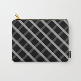 Gray White Square Pattern Geomeric Carry-All Pouch